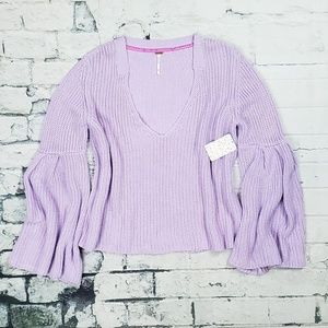 Free People Lilac/Purple Damsel V-neck Sweater NWT